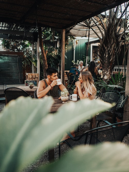 couple in a cafe in Bali
