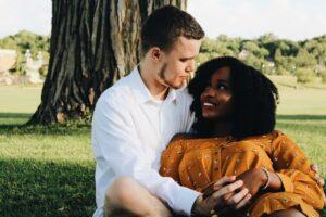 Interracial couple making eye contact