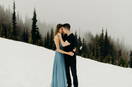 Kissing Couple on a Snowy Winter Mountain