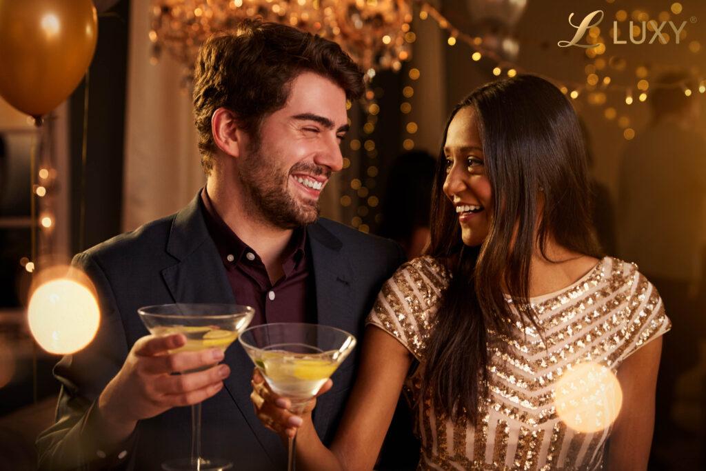 Beautiful Interracial New Years couple