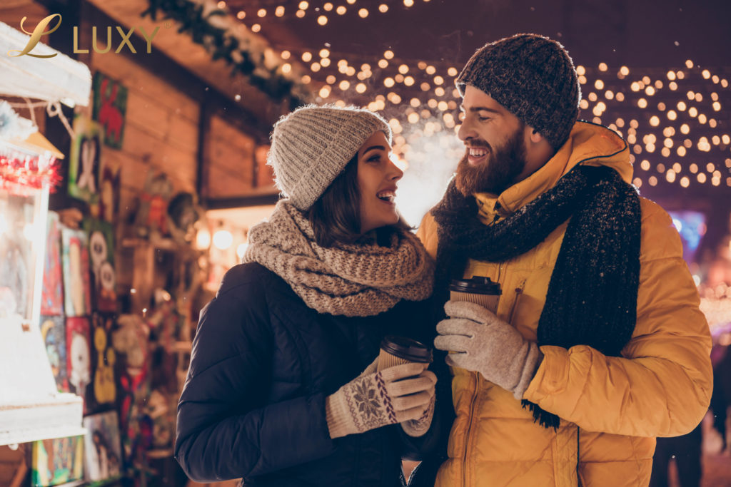 Romantic Couple at the Christmas Market