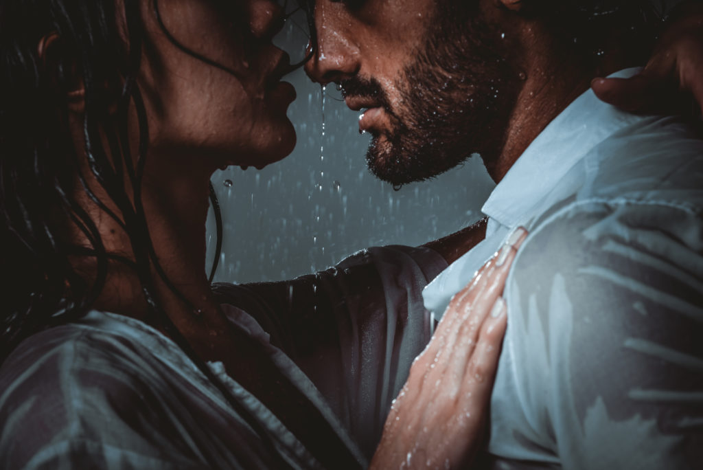 lovely couple kissing sensual is one good dating advice for men.