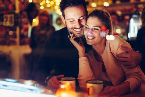 happy couple, a man with Facial Hair